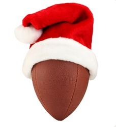 American football wearing a red and white Santa Hat