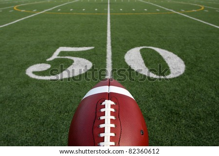 American Football with the Fifty Yard Line and room for copy