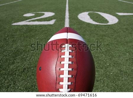 American Football with the Twenty Yard Line Beyond