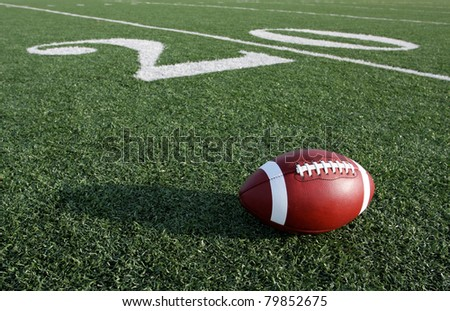 American Football with the Twenty Yard Line Beyond