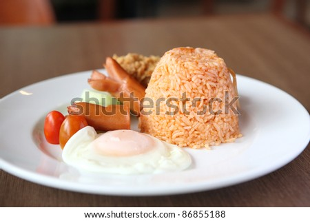 American Fried rice breakfast set on wood background