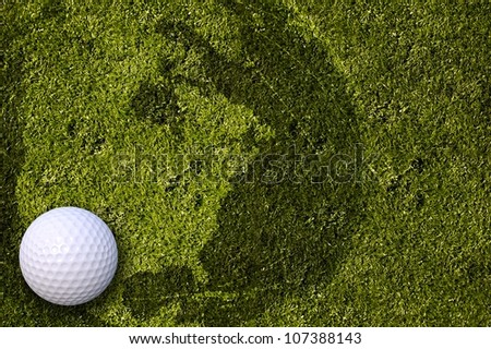 American Golf. Cool Golf Background with White Golf Ball and Grassy Background with American Continent Globe Shadow. Great Background for North America Golf Tournament.