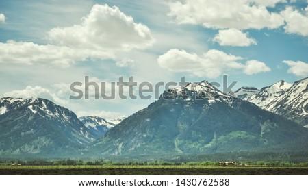 American Grand Teton Snow Mountain Scenery #1430762588