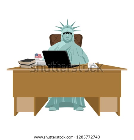 Stock Photo American hacker. computer thief from USA. Statue of Liberty in mask and  laptop. Hacking database. Cyber criminal