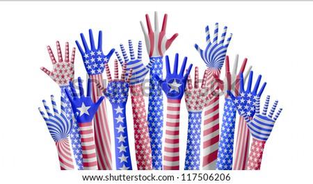 American hands raising for vote