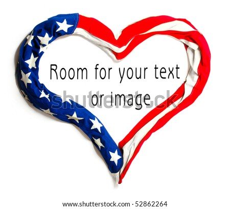 American heart on white background. Great for Independence Day brochures and advertising.