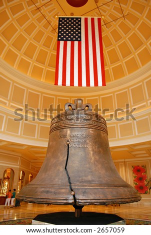American heritage bell and flag