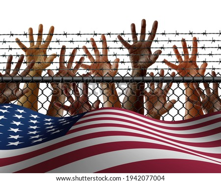 American immigration and United States refugee crisis concept as immigrant people on a border wall with a US flag as a social issue about refugees or illegal immigrants with 3D illustration elements. Foto stock ©