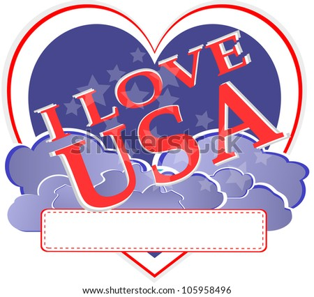 american independence day - usa heart shape design - raster