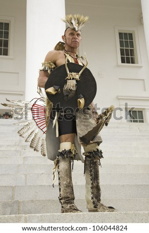 American Indian posing in front of Virginia State Capitol, Richmond Virginia, during ceremonies for the 400th Anniversary of the Jamestown Settlement on May 3, 2007