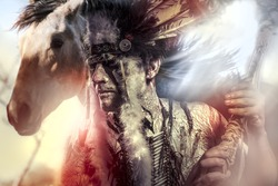 American Indian warrior, chief of the tribe. man with feather headdress and tomahawk, horse