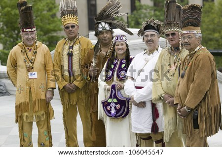 American Indians and Powhatan tribal leaders posing in front of Virginia State Capitol, Richmond Virginia, during ceremonies for the 400th Anniversary of the Jamestown Settlement on May 3, 2007