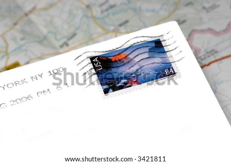 American mail with stamp envelope over of map