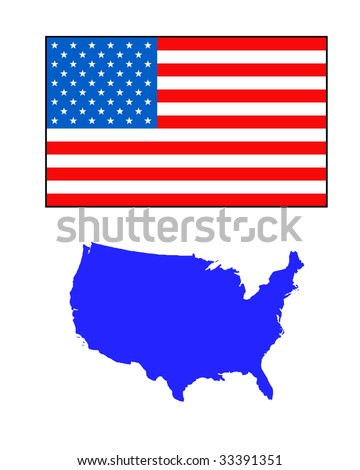 American map and flag, isolated on white background.