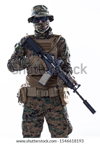 american  marine corps special operations soldier with fire arm weapon and protective army tactical gear clothes Studio shot isolated on white background #1546618193