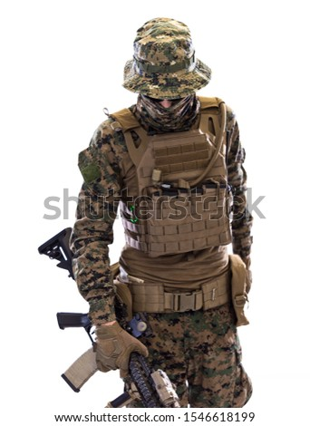 american  marine corps special operations soldier with fire arm weapon and protective army tactical gear clothes Studio shot isolated on white background #1546618199