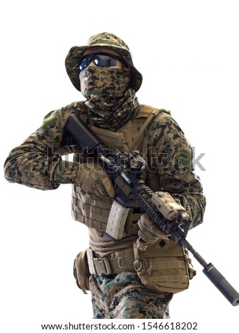 american  marine corps special operations soldier with fire arm weapon and protective army tactical gear clothes Studio shot isolated on white background #1546618202