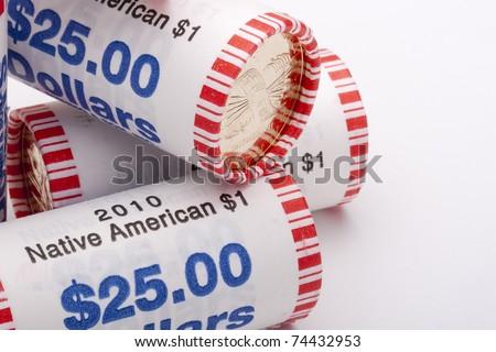 American Metal dollars packed in paper tubes for twenty-five dollars.