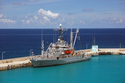American military ship in the Caribbean water in sunny day