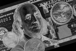 American money: a note of 100 US dollars, coin of 1 dollar, a quarter (25 cents) and a penny (1 cent). Inverted black and white illustration on a commercial, financial, banking theme. Top view. Macro