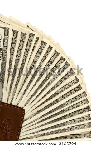 American money, 100.00 dollar bills fanned in money clip