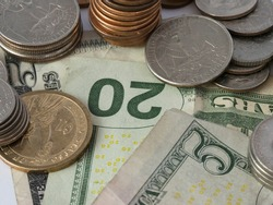 American money, dollars, dollar bills, cent, coins, close up picture of cash