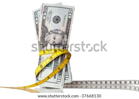 "American money with a tape measure around the ""waist"""