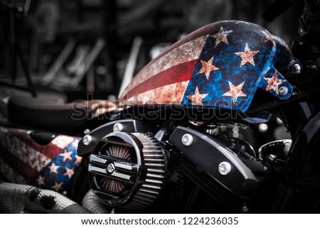 American Motorbike with US Flag, Motorshow. Detail. Close Up