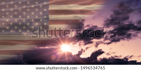 American National Holiday. Cloudy background with American flag and national colors. Copy space. #1496534765