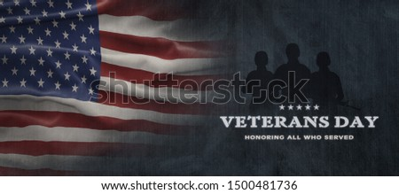 American National Holiday. US Flag background with American stars, stripes and national colors. Text: Veterans Day. Honoring all who served