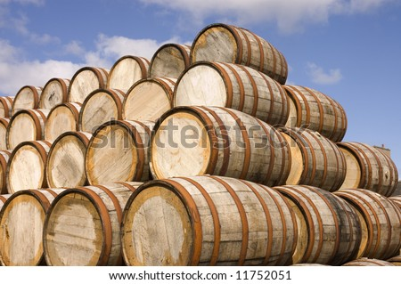 american oak bourbon barrels at a distillery in Scotland
