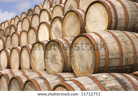 American oak Bourbon Barrels used at a distillery in Scotland to mellow the Scotch