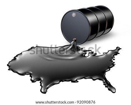 American Oil Industry with a black drum barrel spilling out fossil fuel liquid crude as a map of the United States as a concept of drilling and petroleum gas energy dependence by the US government.