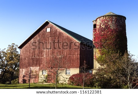 American old country farm with barn and silo