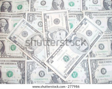 American one and five dollar bills