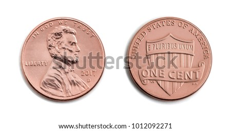 american one cent, USA 1 c, bronze coin both sides isolate on white background. Abraham Lincoln on copper coin realistic photo image -