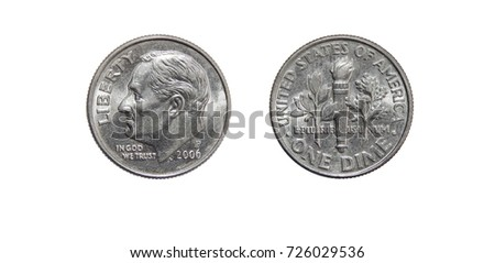 American one dime coin (10 cents) isolated on white background