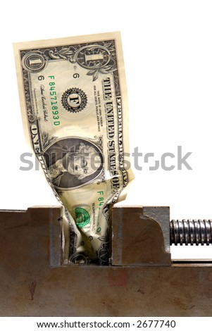 American one US dollar bill crushed in a vise over white as metaphor for a cash crunch recession