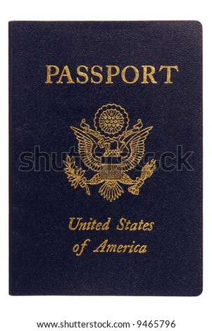 American Passport Cover Close Up Isolated On White Stock ...