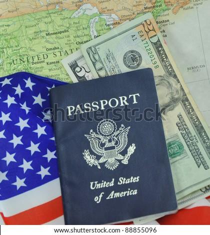 American Passport Money Flag on Map Background