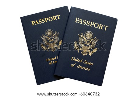 American passports isolated on a white background
