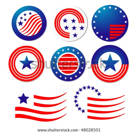 American patriotic symbols set for design and decorate or logo template. Vector version is also available