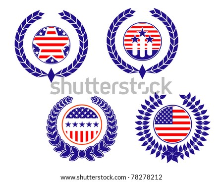 American patriotic symbols set for design and decorate. Vector version also available