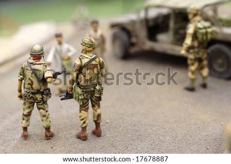 American patrol in Bagdad street - plastic model 1:72 scale - extremely closeup