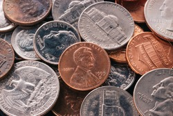 American Penny Money and Coins including quarters, nickels and dimes