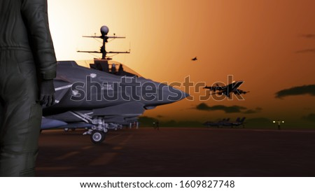 American pilot on aircraft carrier ship in sea waiting his turn to take off 3d render stock photo