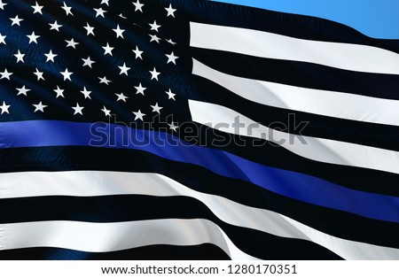 American police flag. Thin blue line flag law enforcement symbol. American Flag with Thin Blue Line. Grunge Aged Background. Monochrome gamut. Black and white.