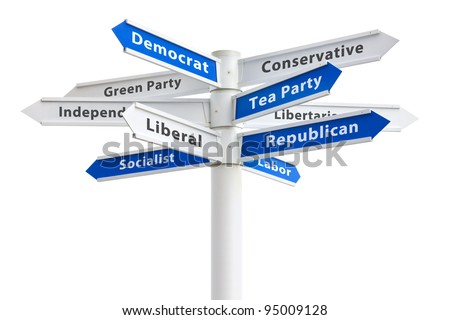 American Political parties on a crossroads sign: Democrat, Republican, Conservative, Tea Party, Libertarian, Labor, Green, Independent, Liberal, Socialist