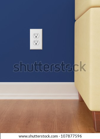American Power outlet on blue wall with wooden floor
