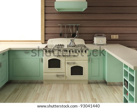American Home Design on American Retro Kitchen   Home Interior Design Stock Photo 93041440